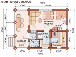 проект баня брус 028Б 7,5х5,5