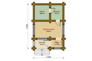 проект бани брус 031Б 6,0х4,0