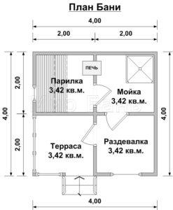 проект баня брус 030Б 4,0х4,0